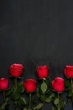 Samenstelling van rode rozen op donkere grijze achtergrond Romantisch sjofel elegant decor Hoogste mening Het concept van de lief Stock Foto