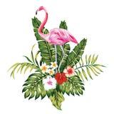 Samenstelling van roze flamingo tropische bladeren en bloemen witte B vector illustratie