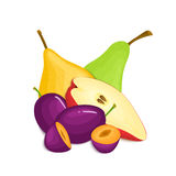 Samenstelling van sappige pruimen en peren Het rijpe vector de vruchten van de perenpruim gehele plak smakelijke kijken Groep sma Stock Afbeelding