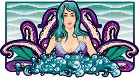 Samenstelling van tentakels met meisje op overzeese textuur Stock Afbeeldingen