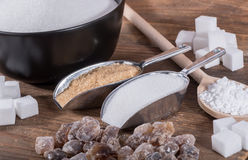Samenstelling van verschillende types van suiker Stock Fotografie