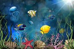 Samenstelling van zeeschelpen, zeester, kwallen Onderwater wereld Overzeese achtergrond Vector illustratie stock illustratie
