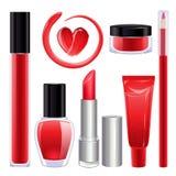 Samenstelling voor lippen en spijkers wordt geplaatst die Rode kleur Royalty-vrije Stock Fotografie