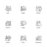 Samenstellings geplaatste lijnpictogrammen Stock Afbeeldingen