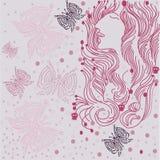 Samenstellingsmeisje en vlinders Royalty-vrije Illustratie