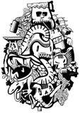 Samenstellingsschetsverhaal van de unbeaten monsters Illustratie Royalty-vrije Stock Foto's