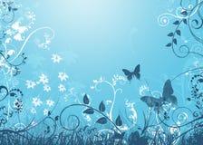 Samenvatting Bloemen op Blauw Royalty-vrije Stock Afbeelding