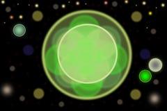 Samenvatting bokeh met groene cirkel in centrum en verdere gloeiende cirkels op zwarte backround vector illustratie