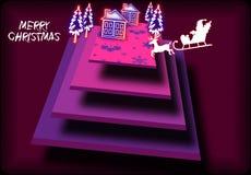 Samenvatting in de schaduw gestelde rechthoekenillustratie van Kerstmisviering Stock Foto