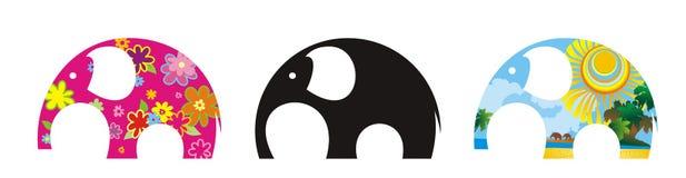 Samenvatting drie elefants Stock Afbeelding