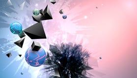 Samenvatting gebroken vormen op multicolored achtergrond Stock Illustratie