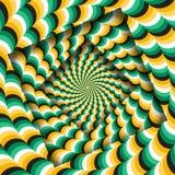 Samenvatting gedraaide kaders met een roterend groen geel golvend patroon De Achtergrond van de optische illusie royalty-vrije illustratie
