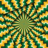 Samenvatting gedraaide kaders met een roterend groen geel zigzagpatroon De Achtergrond van de optische illusie vector illustratie