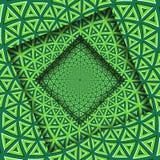 Samenvatting gedraaide kaders met een roterend groen patroon van kalk driehoekig elementen De Achtergrond van de optische illusie royalty-vrije illustratie