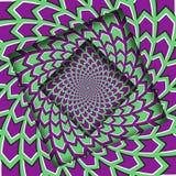 Samenvatting gedraaide kaders met een roterend groen purper pijlenpatroon De Achtergrond van de optische illusie stock illustratie