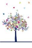 Samenvatting gekleurde boom met harten en vlinders royalty-vrije illustratie