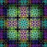Samenvatting gekleurde voorwerpen tegen een backlit naadloos vectorpatroon als achtergrond Royalty-vrije Stock Afbeeldingen