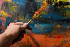 Samenvatting geschilderd canvas Olieverven op een palet Stock Afbeeldingen