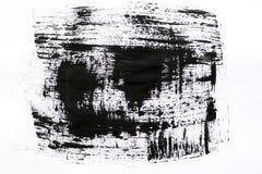 Samenvatting geschilderde geplaatste inktslagen Hoge de slagtextuur van de vergrotingsborstel Zwarte die verf, op wit wordt geïso Stock Foto