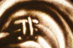Samenvatting gestileerd die beeld van het symbool Pi in het zand wordt getrokken Zand het Schilderen Abstracte hand - gemaakte ac Royalty-vrije Stock Fotografie
