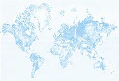 Samenvatting Gestippelde het Effect van Kaart Blauwe en Witte Halftone grunge Illustratie De silhouetten van de wereldkaart Conti stock illustratie