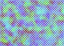 Samenvatting getrokken waterverf kleurrijke achtergrond met punten en penseelstreken Stock Afbeelding