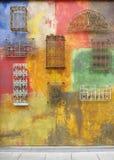 Samenvatting, grunge, langzaam verdwenen geschilderde muur stock fotografie