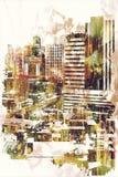 Samenvatting grunge van cityscape Stock Afbeeldingen