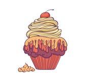 Samenvatting hand-drawn van cupcake vlak ontwerp met weinig schaduw Stock Foto's