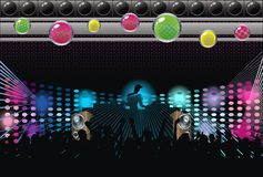 Samenvatting; kunst; achtergrond; muziek; DJ; silhouet Stock Afbeeldingen