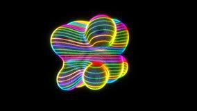 Samenvatting metaball - organische vorm met neonstrepen, het digitale 3d teruggeven, conceptontwerp voor wetenschap royalty-vrije illustratie