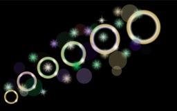 Samenvatting, multicolored, neon, heldere, gloeiende cirkels, ballen, bellen, planeten met sterren op een zwarte achtergrond van  Stock Foto's
