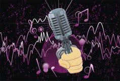 Samenvatting; muziek; illustratie; microfoon Stock Foto's
