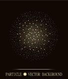 Samenvatting shpere van gloeiende lichte deeltjes ruimte bruine achtergrond Het atoomontwerp van de explosietechnologie Vector il Stock Afbeelding