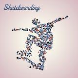 Samenvatting skateboarder in sprong royalty-vrije illustratie