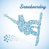Samenvatting snowboarder in sprong royalty-vrije illustratie
