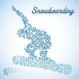 Samenvatting snowboarder in sprong stock illustratie