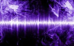 Samenvatting soundwave met rookvormen stock fotografie