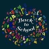Samenvatting terug naar schoolachtergrond met de de kleurrijke kaart en banner van regenboogbrieven dor royalty-vrije illustratie