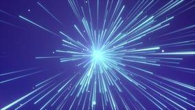 Samenvatting van afwijking of hyperspace Motie in interstellaire de reislijn van Blue Line backgroud stock videobeelden
