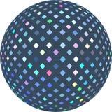 Samenvatting van de hologram de blauwe gestemde 3d bal grafisch op witte geïsoleerde achtergrond Het patroon van het Glitzmozaïek stock illustratie