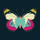 Samenvatting van de vlinder de purpere vleugel op marineachtergrond Royalty-vrije Stock Fotografie