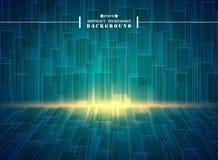 Samenvatting van futuristische hallo blauwe vierkante geometrische het patroonachtergrond van technologie vector illustratie