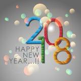 Samenvatting van Gelukkig Nieuwjaar 2018 Vector en Illustratie, EPS 10 Stock Afbeeldingen