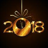 Samenvatting van Gelukkig Nieuwjaar 2018 Vector en Illustratie, EPS 10 Royalty-vrije Stock Foto