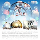 Samenvatting van Gelukkig Nieuwjaar 2018 Vector en Illustratie, EPS 10 Royalty-vrije Stock Foto's
