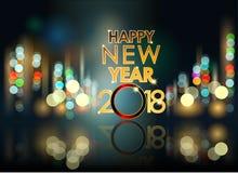 Samenvatting van Gelukkig Nieuwjaar 2018 Vector en Illustratie, EPS 10 Royalty-vrije Stock Fotografie