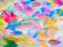 Samenvatting van kleurrijke waterverf op papieren zakdoekje Stock Fotografie