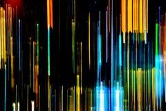 Samenvatting van multicolored stadslichtstralen in motie, Bewegend col. stock foto