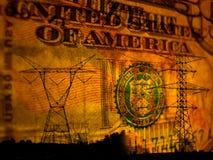 Samenvatting van stroom op geldachtergrond Stock Foto's